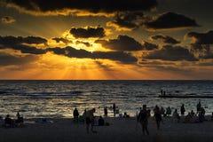 Caesarea in sunset. The beach of the Aquaeductus at Caesarea in sunset Israel Royalty Free Stock Photo