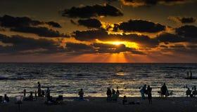 Caesarea in sunset. The beach of the Aquaeductus at Caesarea in sunset Israel Stock Image