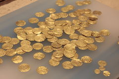 Caesaria Marítima Archeological rare gold coins in israeli national park Royalty Free Stock Photography