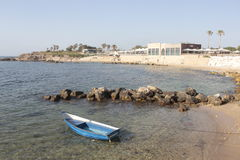 Caesaria Marítima boat in the beach shore Royalty Free Stock Photo