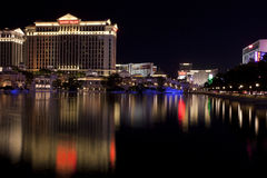 Caesars Palace casino and hotel reflecting in the fountain lake Royalty Free Stock Images
