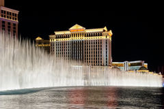 Caesars Palace Hotel is shown behind some of the fountains of t Stock Image