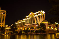 The Caesars Palace with lake view, Las Vegas night Stock Image