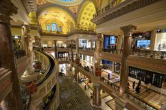 Caesars Palace, shopping mall, lobby, interior design, building. Caesars Palace is shopping mall, building and shopping. That marvel has lobby, retail and Stock Photos