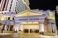 Caesars Palace view of door side entrance at night stock images
