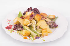 Caesarsalade met parmezaanse kaaskaas, sla, ansjovis, croutons, bacon, en mayonaise Royalty-vrije Stock Fotografie