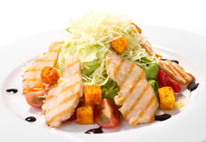 Caeser Salad with chicken and croutons Stock Photo