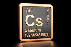 Caesium Cs chemical element. 3D rendering. Caesium Cs, chemical element. 3D rendering isolated on black background Stock Photo