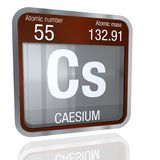 Caesium symbol  in square shape with metallic border and transparent background with reflection on the floor. 3D render. Element number 55 of the Periodic Royalty Free Stock Photography
