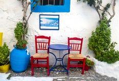 Cafè för Grekland symbolsgammalgrekiska arkivfoto
