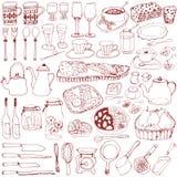 Café menu and item. hand drawn illustrations. Stock Photos