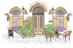 Caféingang met bloemen en groen wordt verfraaid dat stock illustratie
