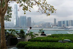 Café avec la vue en Hong Kong Images stock