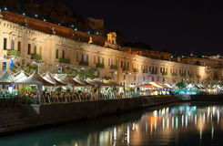 Cafés w mieście Valletta Obraz Stock