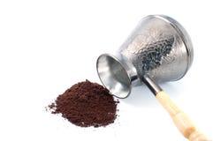 Cafè de bac de café et moulu Photographie stock