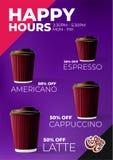 Café à aller affiche de remise d'heures heureuses illustration stock