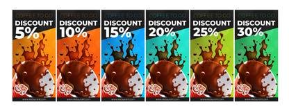 Café à aller bons gratuits de remise de café 6 versions illustration de vecteur