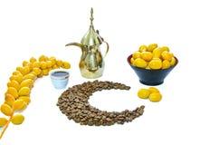 Café árabe com fruta da tâmara Imagem de Stock