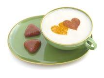 Café 3 del día de tarjeta del día de San Valentín Fotos de archivo
