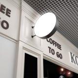 Café acima onblurred da zombaria do squard do quadro indicador Imagem de Stock