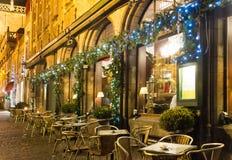 Café adornado para el día de fiesta de la Navidad Fotos de archivo