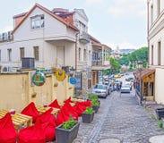 Café al aire libre acogedor en Tbilisi Fotos de archivo libres de regalías