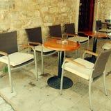 Café al aire libre mediterráneo Imágenes de archivo libres de regalías