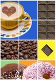 Café, anillos de espuma y chocolate Imágenes de archivo libres de regalías