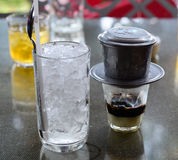 Café arrière avec du lait Photo stock