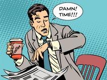 Café atrasado do homem de negócios da ruptura de café ilustração royalty free