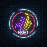 Café au néon de jazz avec le cadre rougeoyant de cercle de connexion de saxophone Invitation rougeoyante à la nuit de jazz dans l illustration de vecteur