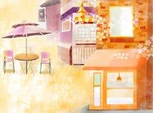Café auf der Straße Lizenzfreie Stockfotos