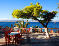 Café auf der Terrasse durch das Meer Lizenzfreie Stockfotos