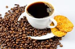 Café avec des biscuits Images stock