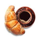 Café avec des croissants Photo stock