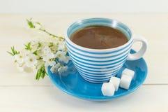 Café avec des fleurs de cerisier Images stock