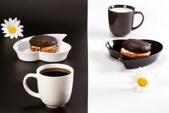 Café avec du lait sur un fond contrastant Images libres de droits