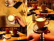 Café avec du lait Un café La jeune fille photo stock