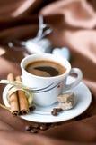 Café avec du sucre brun Images stock