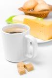 Café avec du sucre brun et le fromage Photos stock