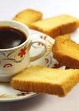 Café avec la biscotte Images libres de droits