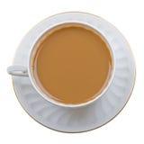 Café avec la cuvette de lait sur le blanc Image stock