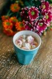Café avec la guimauve dans une tasse bleu-clair Photo libre de droits
