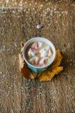 Café avec la guimauve dans une tasse bleu-clair Photos stock