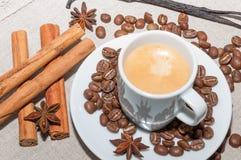 café avec la mousse et la cannelle Images libres de droits
