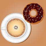 Café avec le beignet Images stock