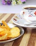 Café avec le casse-croûte Photo stock