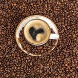 Café avec le concept d'amour de coeur Image libre de droits