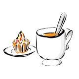 Café avec le gâteau Images libres de droits