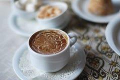 Café avec le modèle de lait Images libres de droits